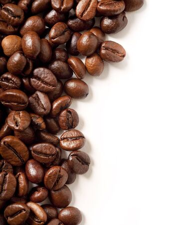 coffee beans on white  with space for copy Banco de Imagens