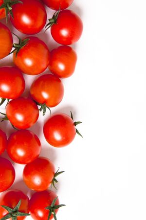 tomatoes on white with space for copy