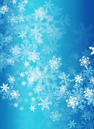 abstract snow flakes on blue background