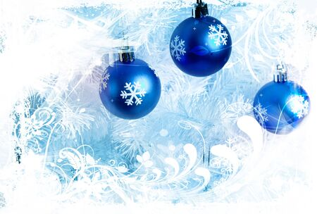 winter design with blue decorations Banco de Imagens