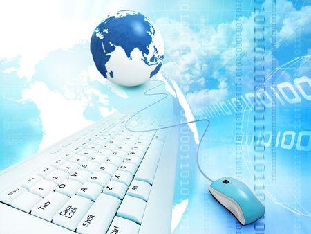 binary globe: blue abstract design; internet concept  Stock Photo