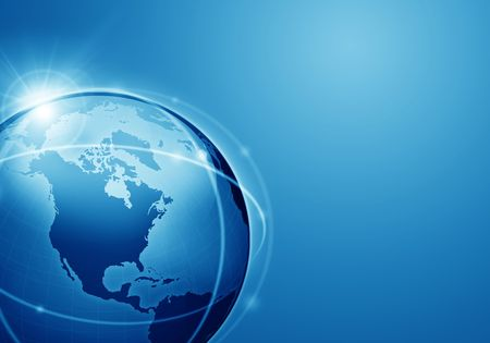 blue globe; communication concept Banco de Imagens - 7975809