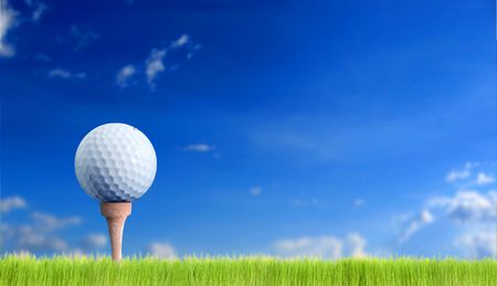 golf ball over the sky 写真素材
