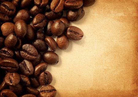 Coffee Beans on Vintage Textur Standard-Bild - 7976020