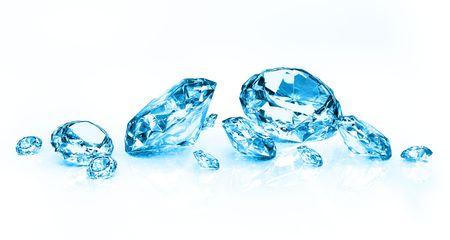 edelstenen: blauwe diamanten op witte achtergrond Stockfoto