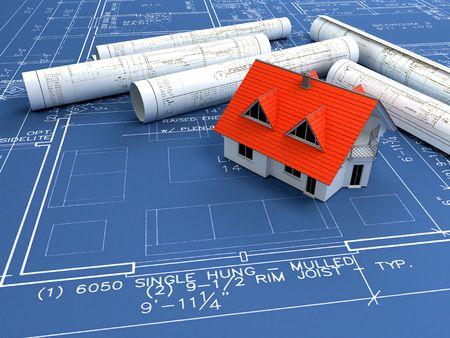 house over a blueprint; 3d render photo