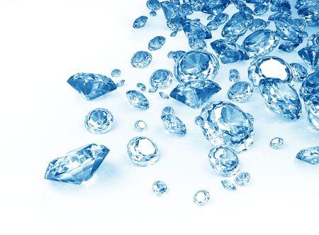 白地にブルー ダイヤモンド 写真素材 - 7975999