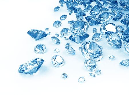blue diamonds on white background Banco de Imagens - 7975999