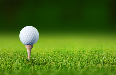 golf green: close up with a golf ball Stock Photo