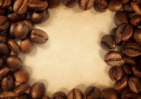coffee beans on a vintage texture