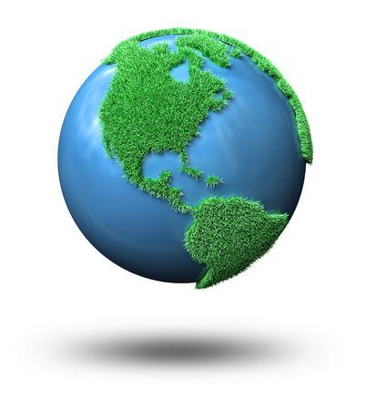 Globe mit Kontinenten hergestellt aus Gras Standard-Bild - 7976003