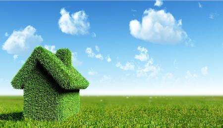 groen huis concept Stockfoto