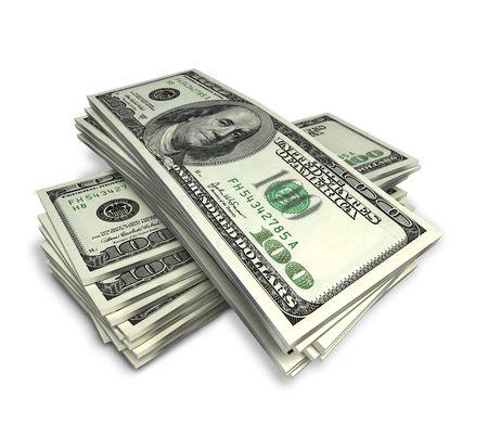 stack of dollars on white, Standard-Bild