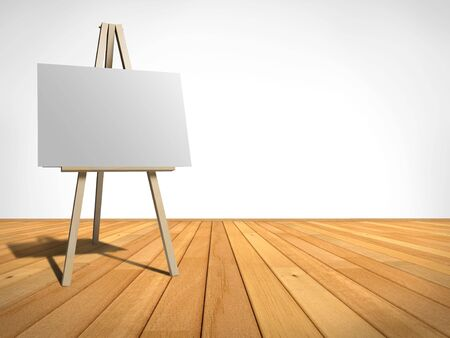 blank canvas: empty room with an easel