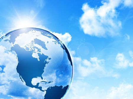 transparent globe: globe with the sky on the background