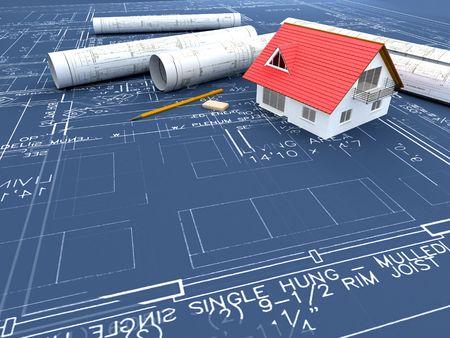 Haus und blueprint Standard-Bild - 7975996
