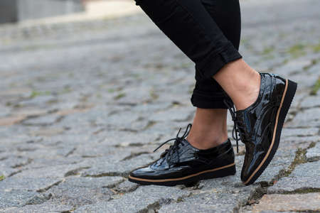 Close up of stylish female shoes.  Footwear advertising.