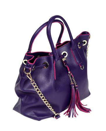Stylish female leather bag isolated on white background. Fashionable and high style expensive female bag