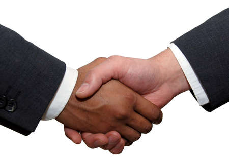 business handshake: Business handshake. Image of businesspeople handshake on the white background. Caucasian male, african american male hands