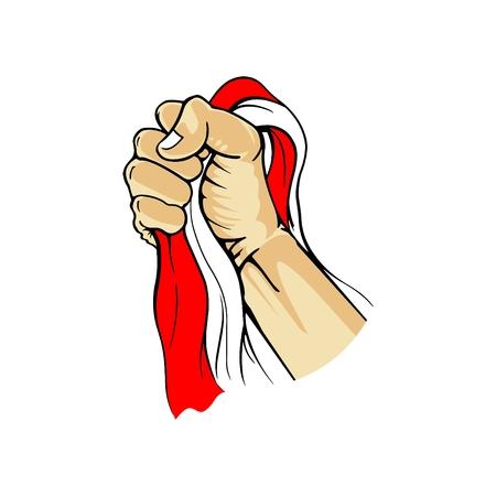 Handling Flag of Indonesia Illustration
