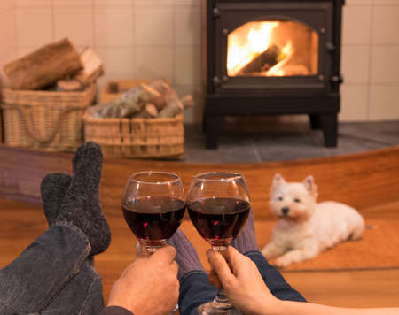 woodburner: Cosy couple by the fire with red wine and a west highland terrier westie dog in New Zealand, NZ