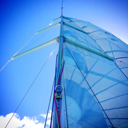 shrouds: Yacht rig, main sail, mast and rigging on a sailboat