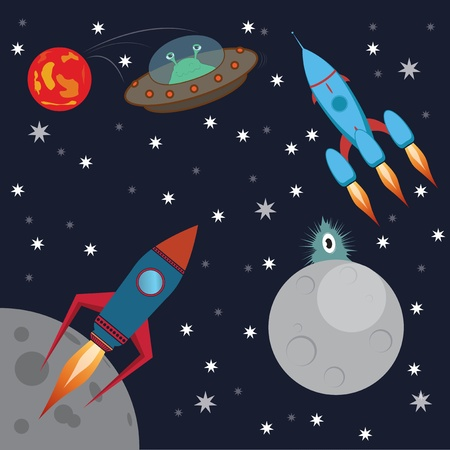 rocket in space  aliens attack Vector