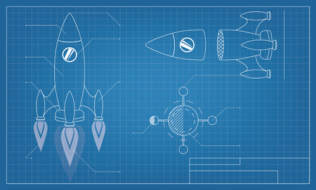 vector illustration blueprint of the spaceship