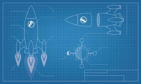 vector illustratie blauwdruk van het ruimteschip