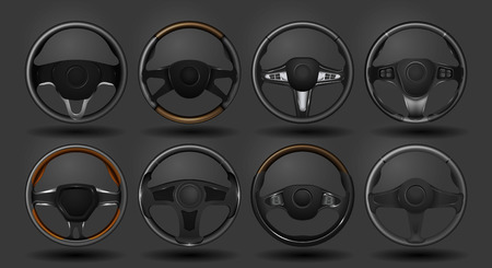 Set of different steering wheels. Vector illustration Stock Illustratie