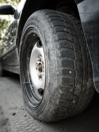 Flat front tire on car