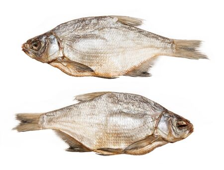 Dried salted bream on a white background