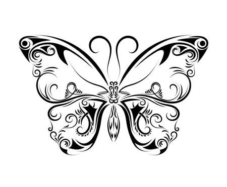 Beau papillon noir et blanc isolé sur fond blanc