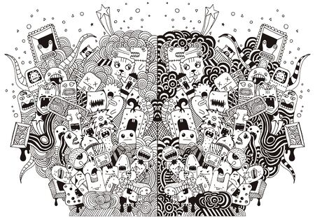 Hand drawing doodle monsters on white background Ilustracja