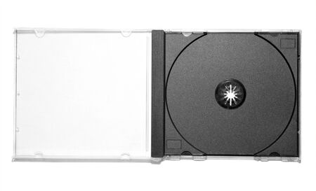 Ouvrez la boîte de CD vide sur un fond blanc Banque d'images