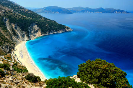 A wide shot of the famous exotic beach Myrthos in Kefalonia, Greece