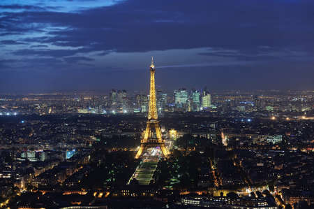 PARIS - 2014 OCT 17 - a panoramic view of the Eiffel Tower at night