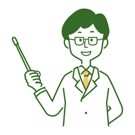 Illustration of a pose explained by a man in a white coat Illusztráció