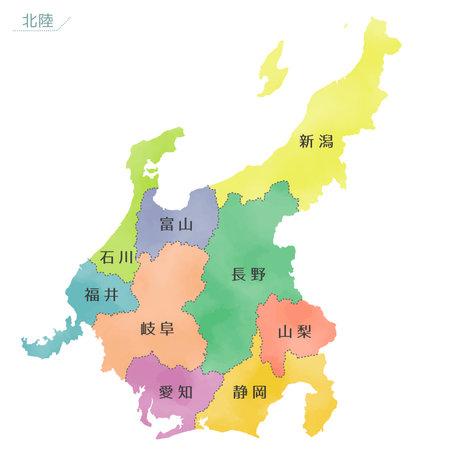 Japan map with watercolor-like vector, Chubu region