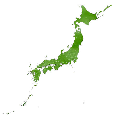 Vector image of Japanese-style Map of Japan Vettoriali