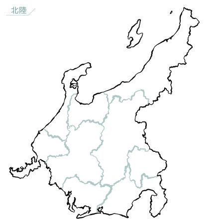 Vector image of Japanese-style Map of Japan, Chubu Region