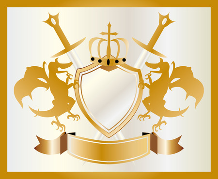 illustration of the coat of arms of gold  Vector