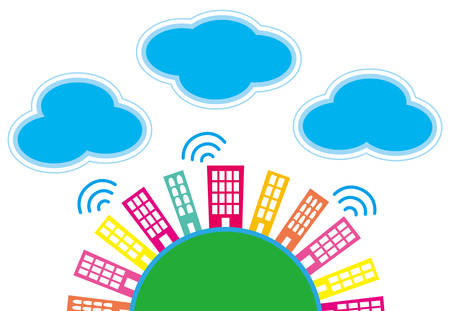 It is an illustration of the city and clouds. Vector