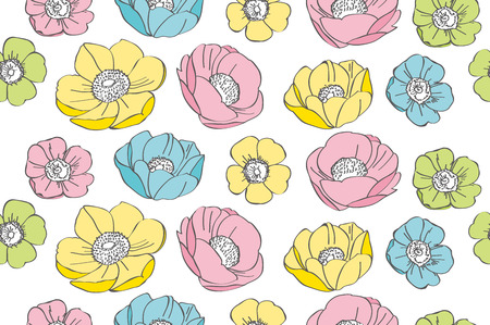 This is an illustration of anemone flower pattern. Stock Illustratie