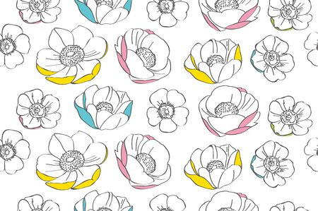 This is an illustration of anemone flower pattern. Illustration