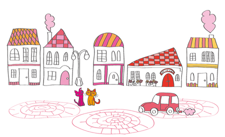cute house: It is an illustration of the cityscape.