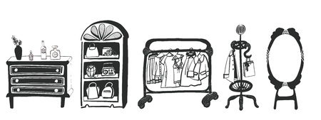 clothing rack: It is an illustration of the interior. Illustration