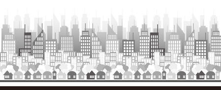 그것은 도시 풍경의 삽화입니다.