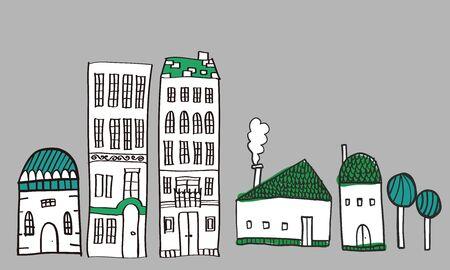 Illustratie van het stadsbeeld. Het is een vector materiaal.