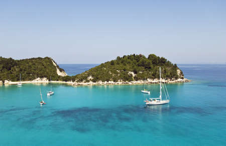Lakka harbour in Paxos Greece. Stock Photo